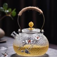 铜把锡花提梁壶 锤纹煮茶壶耐高温日式玻璃烧水壶电陶炉煮茶器