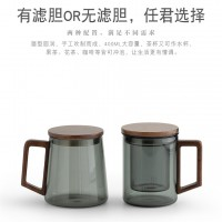 透黑木璃玻璃茶具办公三件杯 玻匠人十大品牌茶具